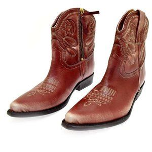 Bettye Muller Women's Boots Distressed Red Leather Cowboy Short Boots 40 US 10